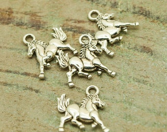 Charms silver color 20mm Pack of 20 small horses
