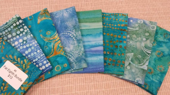 Batik Textiles Bundle of 8 Fat Eighth Pre Cuts In Teal Green and Blue With Gold and White Design of Florals Dots and Stripes