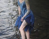 Blue Siren Silk and Lace Asymmetrical Slip Dress