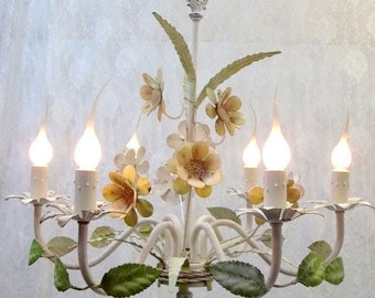 Shabby Chic White Yellow Flower Chandelier Italian Tole Painted Flower Chandelier Six Light Toleware Chandelier Chippy Weathered DD 1419