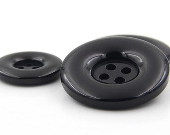 10 Pcs 0.59~1.50 Inches Fashion Shiny Black Circle 4 Holes Resin Shell Buttons For Coats