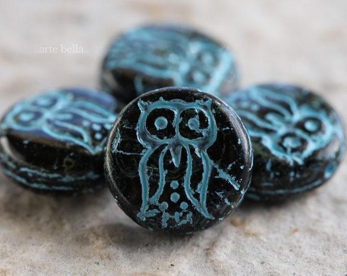 TWILIGHT HOO HOO .. 4 Picasso Czech Glass Owl Coin Beads 14mm (6225-4)