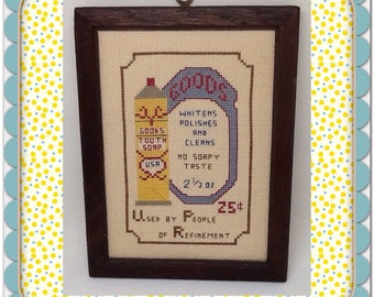 Cross Stitch Bathroom Decor Vintage Toothpaste Ad Country Decor Victorian Decor Cottage Chic Decor Wall Art Wall Hanging Farmhouse Decor