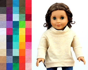 Fits like American Girl Doll Clothes - Cowl Neck Slouchy Hi-Low Dolman Pullover, You Choose Color   18 Inch Doll Clothes