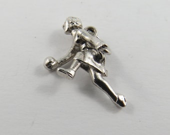 Woman Bowling Sterling Silver Charm or Pendant.