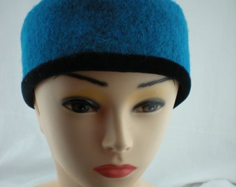 Headband Turquoise Walkwolle Black Nikkistoff lined 7 cm Br. Head 57 cm Elastic W2218