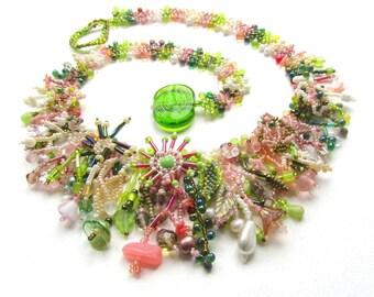ZUR Bestellung Dschungel Kragen, hellgrün und rosa Blumen-Anweisung Halskette