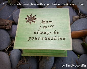Mother's day gift, Mother of bride, you are my sunshine, music box, wooden music box, custom made music box, mom, personalized music box