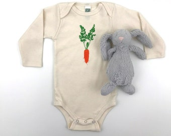 Carrot Long sleeve Bodysuit - Organic Cotton Natural Onepiece - hand screen printed veggie on baby clothes- made in America