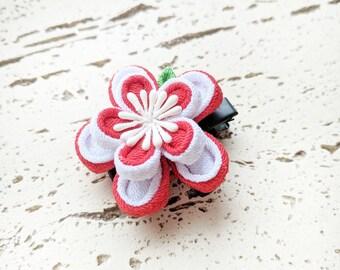 Double Layers Plum Blossom Kanzashi Hair Clip, Japanese Kimono Accessories, Kanzashi Flower, Geisha Hair Clip, Japanese Hair Clip - Red