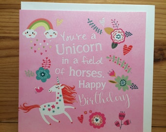 Funny Birthday card, Happy Birthday card, Unicorn Birthday card, Unicorn Quote,Horses, flowers,pretty,Bright flowers, Pink and fun..