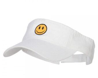 Smiley Face Embroidered Visor, Cotton Visor, Washed Visor