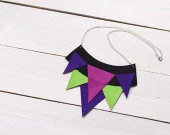 SALE Leather statement necklace with triangles - black and neon