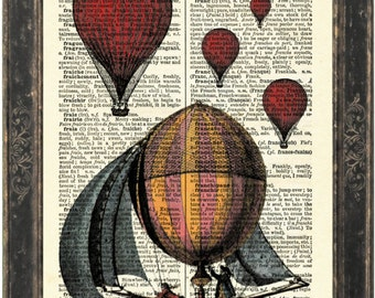 French  Balloon Print on 1900's English French dictionary Recycled Book Page