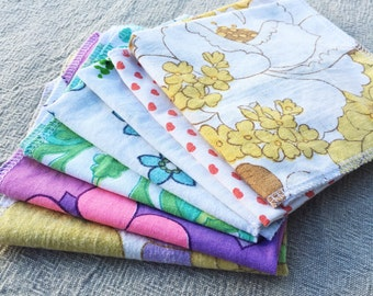 Set of 4 hankerchiefs / napkins / wipes / reusable / repurposed / zero waste / plastic free