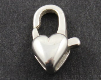 Sterling Silver 12 mm Heart Shape Clasp , 1 Piece, Sold INDIVIDUALLY, Just buy as many you need,(SS/861)