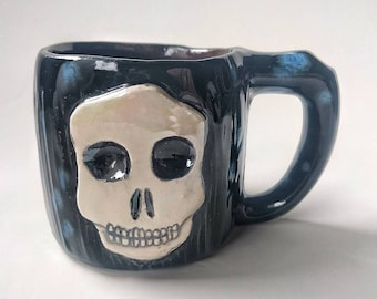 Skull handmade ceramic mug, Halloween, cute creepy, holds 8oz small coffee tea wine cup, fun pottery gift for friends, family, co workers