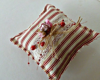 Sweet Valentine Red Ticking Stripe Lavender Sachet Handmade with our Own Lavender from our Farm