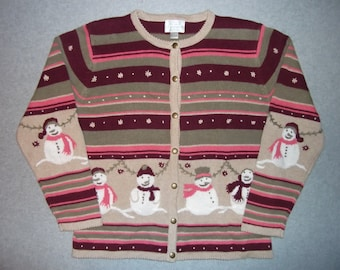 Wintery Snow Snowmen Snowman Striped Button Up Long Sleeve Sweater Tacky Gaudy Ugly Christmas Party X-Mas Winter Warm M Medium L Large