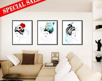 ART PRINT //Oferta Especial//Tres ilustraciones//Geisha calavera-Geisha tigre-Geisha Ave // ilutracion