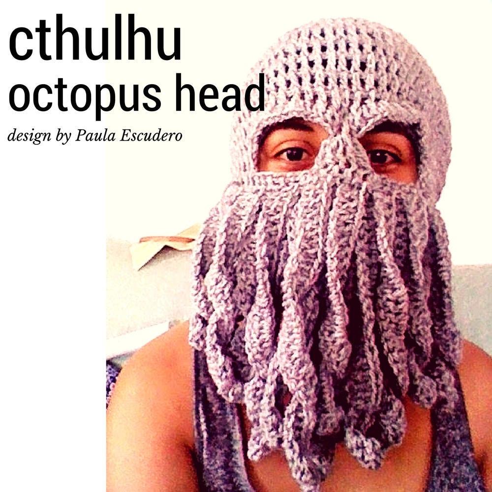 CROCHET PATTERN Cthulhu octopus squid mask hat beret beanie davy ...