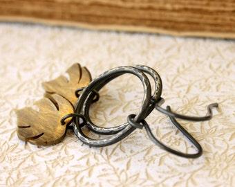 Dangle Sterling Silver Brass leaf mixed metal earrings handmade gifts under 50