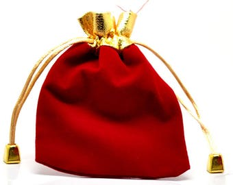 1 bag in velvet with silk red 12 * 9cm gift box