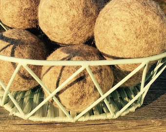 100 % Wool Dryer Balls. Handmade, Quality Wool Products from the Farm, Unscented, Undyed, Eco Friendly.