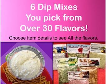 6 dip mixes hand blended , Party dip mixes, seasoning mix, all natural seasoning, herb dip mix, Dip Mixes, Dip mix at craft show, Easter