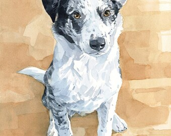 Custom Pet Portrait 8x10 Realistic Dog Watercolor Painting