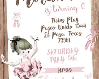 18vintage ballet dancer invitation also  tags label party birthday english or spanish