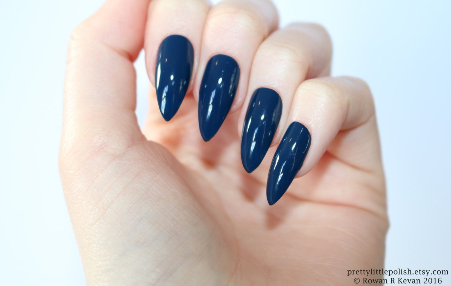 Stiletto nails Dark blue stiletto nails Fake nails Press on