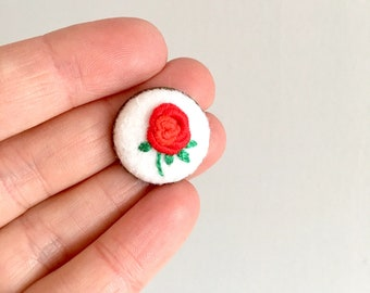 Hand Embroidered Rose Pin Badge Brooch - Red Rose