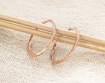 2 of 925 Sterling Silver Rose Gold Vermeil Style Hammered Circle Closed Rings 20mm.   :pg0630