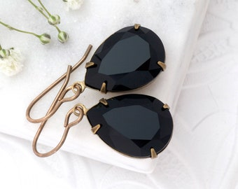Jet Black Earrings, Black Crystal Earrings, Swarovski Crystal Jewelry, Black Rhinestone Earrings Dangle, Black Drop Earrings Brass, Amanda