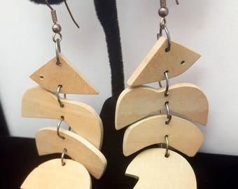 Vintage Wood Fish Large Dangle Earrings