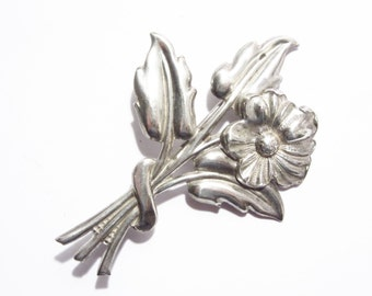 Vintage Sterling Flower Brooch