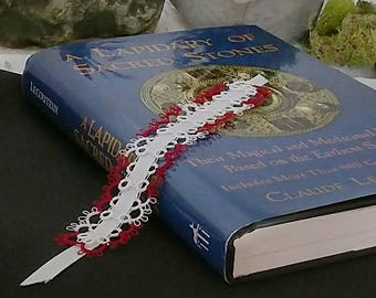 Tatted Lace Bookmark with Ribbon, Tatting, Gift for Reader