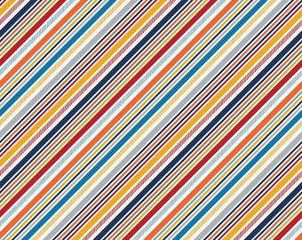 """CLEARANCE: 34"""" Remnant Play Ball 2 Stripes by Lori Whitlock for Riley Blake"""