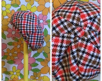 70s Vintage Plaid Wool Afro Hat Beret
