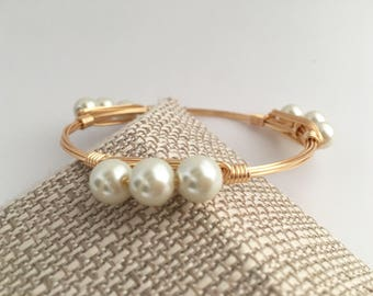 Pearl Wire Wrapped Bangle, Wire Wrapped Bangle, Wire Bangle, Wire Wrapped Bracelet, Wire Wrap Bracelet, Pearl Bangle