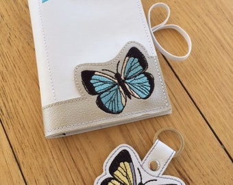 Butterfly set - Memo pad cover & snap tab / key fob / bag tag / ITH Machine Embroidery Design File