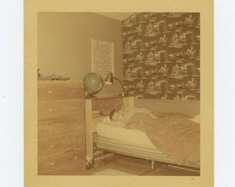 1955 Kodacolor Print Vintage Snapshot Photo Boy in His Bedroom (72547)