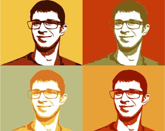 Custom vector Pop Art Portrait 4 in 1 from your Photo