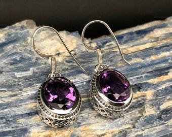 Amethyst Earrings // Oval Bali Setting // Amethyst Earrings // Purple Amethyst Earrings // 925 Sterling Silver