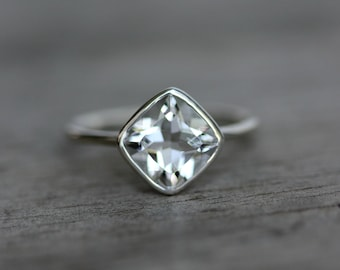 Cushion Cut Clear White Topaz and Polished Silver Solitaire Ring, Diamond Shape