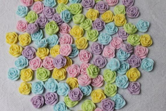 Gum paste roses fondant flowers 100 pcs cupcakes wedding