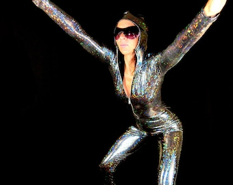 20 Colors, Made to Order Laser Holographic Spandex Hooded Bodysuits, For Dance and Pure Joy