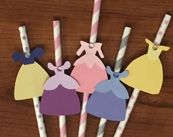 Princess Straws, Princess Birthday Straws, Aurora, Snow White, Rapunzel, Cinderella, Belle