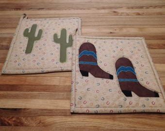 Handmade Pot Holders/ Hot Pad/ Cowboy/ Southwestern/Patchwork